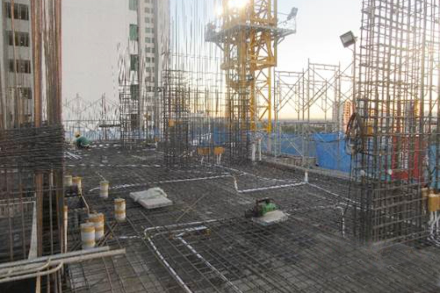 Installating rebar at level 11 slab
