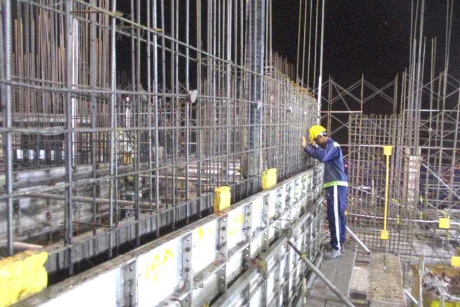 Constructing shear wall up to level 40