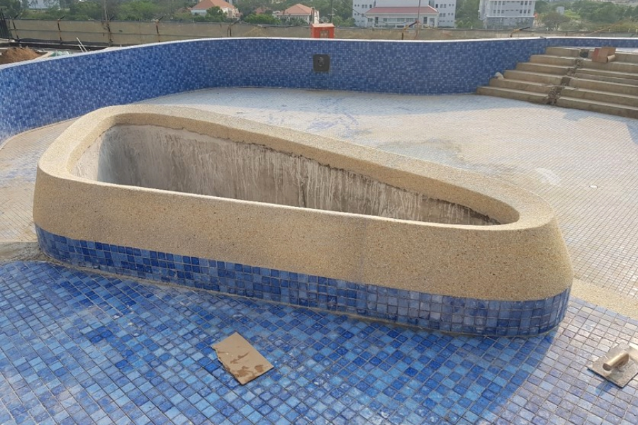 Swimming pool and planting box